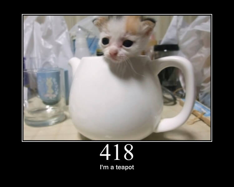 http statuscode 418 as a cat picture